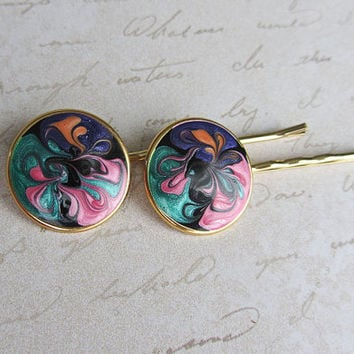 retro hair pins, vintage hair pins, enamel hair pins