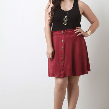 Button Down Suede A-Line Skirt
