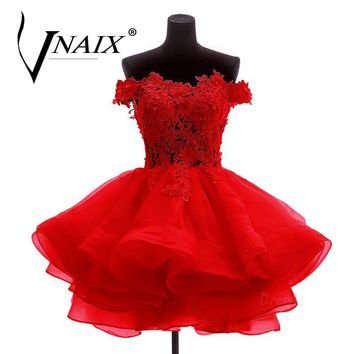 DB709 Red Ball Gown Mini Bridesmaid Dresses Elegant Appliques With Crystal Organza For Weddings Prom Party Dress