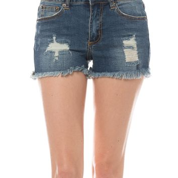 LE3NO Womens Blue Ripped Frayed Cut Off Denim Shorts with Pockets