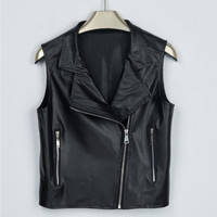 Fashion Women Leather Vest PU Soft Ladies Zipper Motorcycle Vests Waistcoat Coat Biker