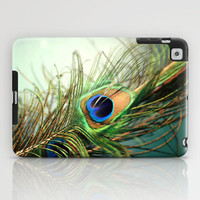 peacock feather-teal iPad Case by Sylvia Cook Photography