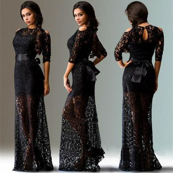 PEAPUNT Large beautiful sexy strapless lace dress elegant long dress with belt summer/autumn new European and American Hot L-XXXL size