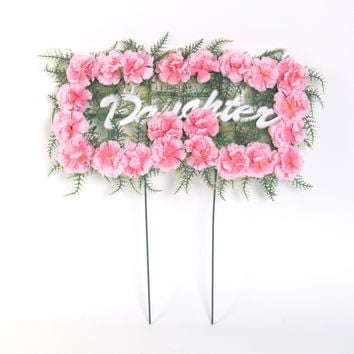Daughter Pillow - Pink Carnations - 18 inch