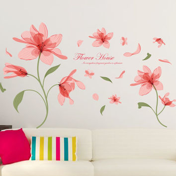Elegant Flower pink emptiness flowers sitting room bedroom home decoration wall stickers Furnishings Romantic Living Room SM6