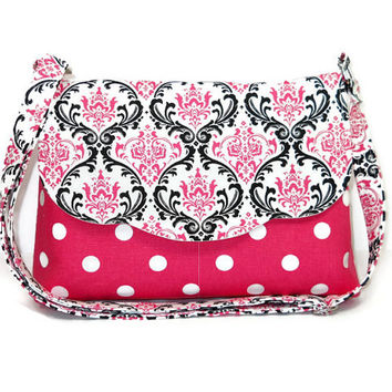 Polka Dot and Damask Fabric Purse, Cotton Cross Body Bag, Women's Messenger, Crossbody Purse, Pink White Black Purse