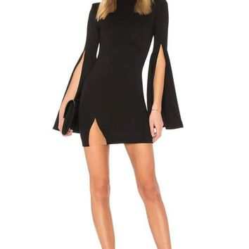 Black Split Sleeve Bandage Mini Dress