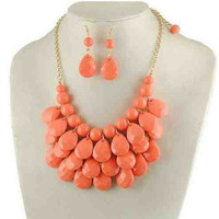 Coral Beaded Statement Necklace & Earring Set