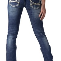 Rock & Roll Cowgirl Women's Medium Vintage Wash Ivory Leather Low Rise Boot Cut Jean