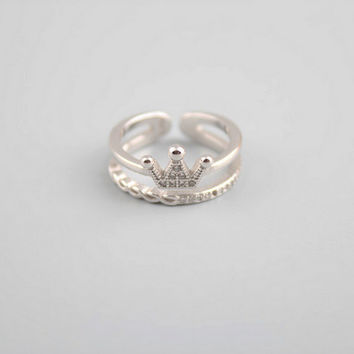 Gift Stylish Shiny Jewelry New Arrival 925 Silver Crown Diamonds Double-layered Korean Accessory Ring [7587129607]