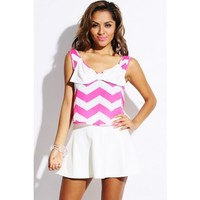 Hot pink/white chevron print bow tie front cut out back crop top