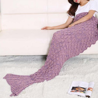 The new fish-scale pattern mermaid fish tail knitted blanket air conditioning blanket blanket blanket sofa
