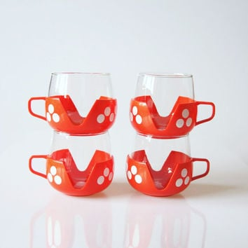 Red white polka dots tea cups, vintage red kitchen decor, polka dot home decor, fairy tale decoration, retro mushroom cups, red coffee cups