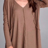 Seamed Cozy Thermal Tunic in Mocha
