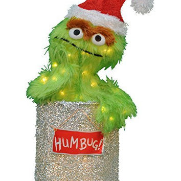 Product Works 31572668 Pre-Lit Soft Faux Fur Sesame Street Oscar The Grouch Christmas Yard Art Decoration with Clear Lights, 18""