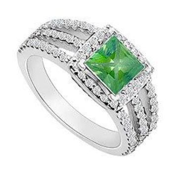 14K White Gold Princess Cut Emerald & Diamond Engagement Ring 1.25 CT TGW