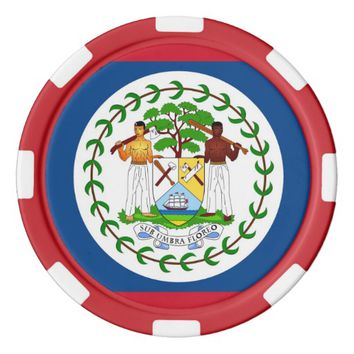 Poker chips with Flag of Belize
