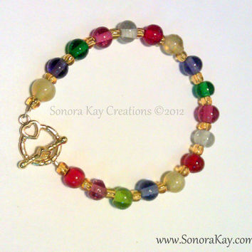 Rainbow Colors  Bracelet with Gold Toggle Clasp can