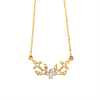 14k solid gold two tone anchor necklace. sea necklace, nautical necklace, nautical jewelry