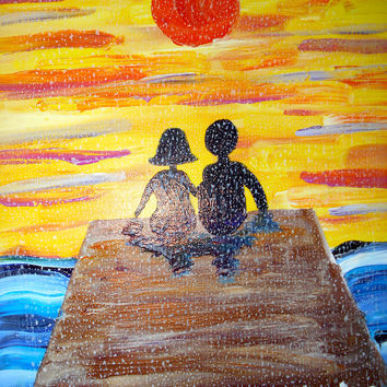 "Acrylic Painting - Couple Enjoying Sunset - 16"" by 18"""