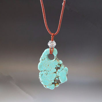 Natural Rough Turquoise Necklace  Long Chain Necklace   Blue Stone Necklace Long Chan  Turquoise Slice Stone Necklace