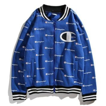 Champion Women Men Stylish Full Print Cardigan Zipper Jacket Coat Sport Baseball Coat White