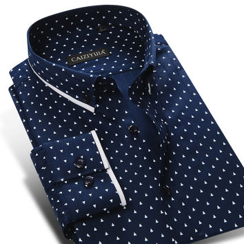 Men's Polka Dot Printing Pattern Casual Shirt Long Sleeve Cotton Contrast Colors Slim-fit Button-down Shirt