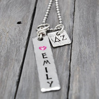 Delta Zeta Necklace, Sorority Necklace, Name Necklace, Delta Zeta Jewelry, Personal Gift, Sorority Sister Gift, Sorority Jewelry,Handstamped