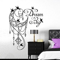 Dream Big Wall Decal Moon Arrows Birds Vinyl Sticker Decals Ethnic Night Symbol Bohemian Boho Nursery Home Decor Bedroom Dorm NV80 (22x28)