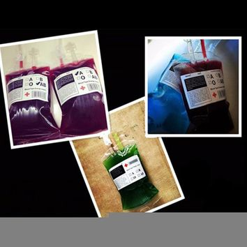 1Pcs Medical PVC Material Reusable Blood Energy Drink Bag Halloween Pouch Props Vampire 350ml
