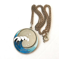 Vintage Scandinavian Enamel Necklace Norway Sterling Silver Blue Pendant Danish Finnish Mid Century Modern Antique Jewelry 60s Estate