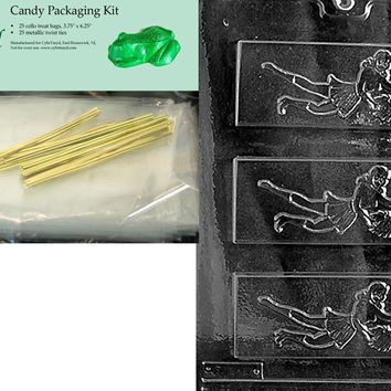 Cybrtrayd Mdk25G-S032 Cheer Leader Bar Sports Chocolate Candy Mold, Includes 25 Cello Bags and 25 Gold Twist Ties