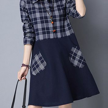 Casual Turn Down Collar Patchwork Plaid Cotton/Linen Shift Dress
