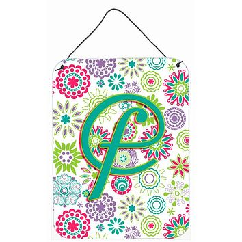 Letter F Flowers Pink Teal Green Initial Wall or Door Hanging Prints CJ2011-FDS1216