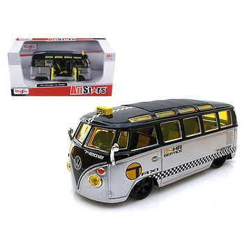 Volkswagen Samba Van/Bus Taxi Silver/Black 1/25 Diecast Model Car by Maisto