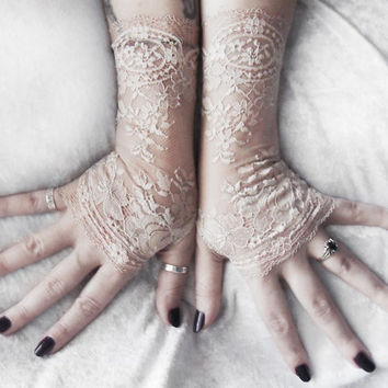 Plaudit Long Lace Fingerless Gloves   Pale Taupe Oatmeal Tan Floral   Wedding Bridal Woodland Bridesmaid Gothic Lolita Goth Tribal Gypsy