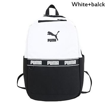 PUMA 2019 new men and women models casual outdoor leisure travel backpack computer bag backpack white+black
