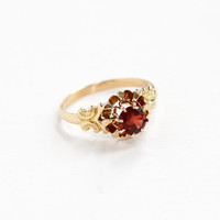 Antique 9k Rosy Yellow Gold Garnet Ring - Vintage Early 1900s Edwardian Solitaire Red Gemstone Fine Buttercup Jewelry