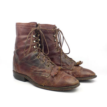 Brown Roper Boots Vintage 1980s Distressed Laredo Lace up Boots  Men's size 8 1/2 D