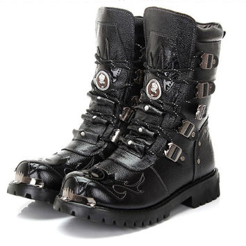 Army Boots Men Military Boots Genuine Leather Winter Black Cow Split Metal Gothic Punk Boots Male Shoes Motorcycle Botas Hombre