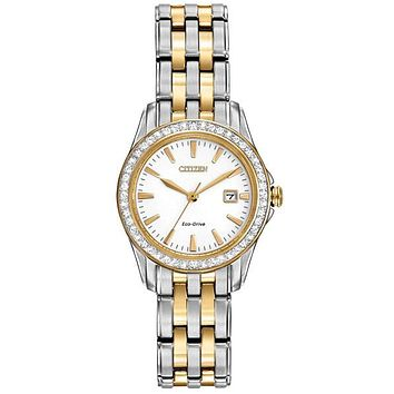 Citizen Ladies Silhouette Crystal Watch - Stainless Steel & Yellow Gold-Tone