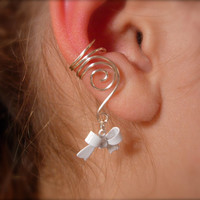 Earcuffs, Ear Wraps, Pair of Silver Ear Cuffs with White Bow Charms, non pierced Earring alternative