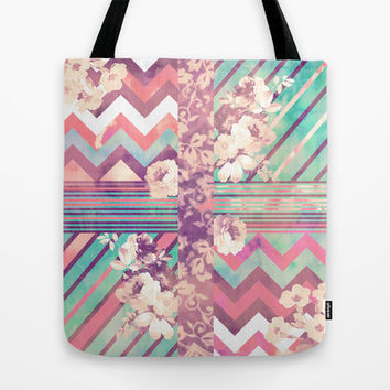 Retro Pink Turquoise Floral Stripe Chevron Pattern Tote Bag by Girly Trend