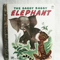 The Saggy Baggy Elephant Children's Story Book by KB Jackson Animal Picture Book Color Illustrations Little Golden Books Vintage Collectible