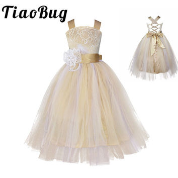 Free ship Vintage Lace Rustic Champagne Spaghetti Straps Sluffy Tulle Ball Gown Flower Girl Dresses for Weddings Evening Party