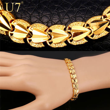U7 Heart Love Bracelets Sale Gold Color Bracelets & Bangles For Men/Women Gift Party Jewelry Trendy H792