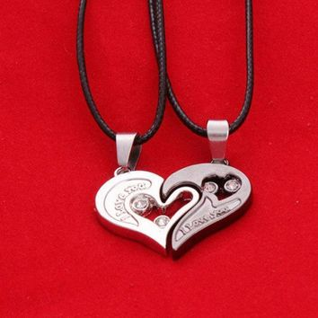 PEAPIX3 Wholeheartedly lovers necklace heart-shaped diamond pendant valentine gift couple pendant