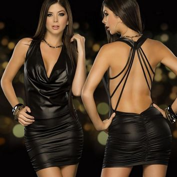 Babydoll Women Latex Leather Backless Dress