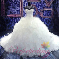 2014 elegant noble Ball Gown sweetheart white/Ivory backless marriage long train Wedding Dress bridal gown prom dress / evening dress custom