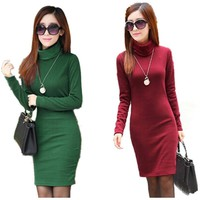 Solid Fashion Thick Dress For Women Turtleneck Winter Warm Dresses Feminino Casual Long Sleeve Plus Size Vestidos L8283
